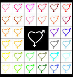 Gender signs in heart shape felt-pen 33 vector