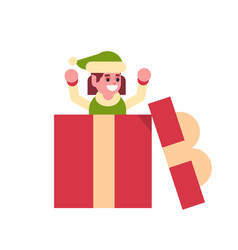 girl elf santa claus helper in gift box present vector image