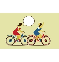 Girls ride on the bike vector image