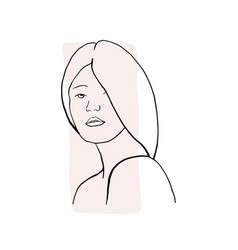 Hand draw outline portrait an albino woman vector