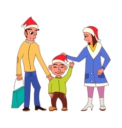 Happy family going Christmas shopping together vector