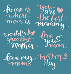Happy mothers day hand lettering set for greeting vector