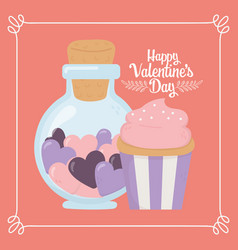 happy valentines day jar bottle with hearts and vector image