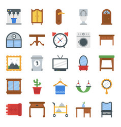 Home interior and decorations flat icons pack vector
