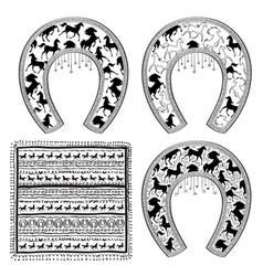 Horse shoe set lucky steel horseshoes set vector