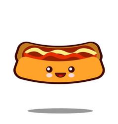 Hot-dog cartoon character icon kawaii fast food vector