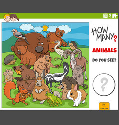 how many cartoon animals educational game for vector image
