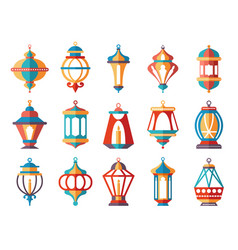 islamic lanterns colored ramadan lamp muslim vector image
