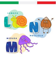 italian alphabet snail hazelnut jellyfish vector image