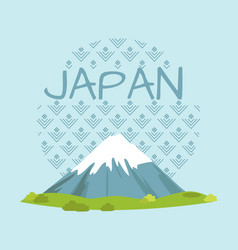 Japan travelling promo poster with high mountain vector