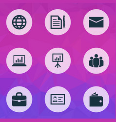 job icons set with global mail wallet and other vector image