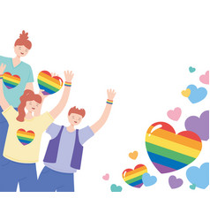 Lgbtq community young people character vector