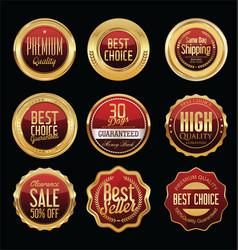 Luxury golden retro badges collection 01 vector