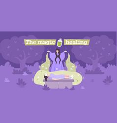 Magic healer flat banner vector
