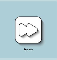 Media player icon white with a shadow on a blue vector