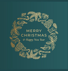 merry christmas and happy new year hand drawn vector image