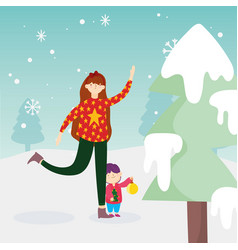 merry christmas mom and son with ball tree snow vector image