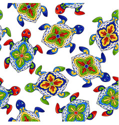 Mexican seamless pattern with turtles vector