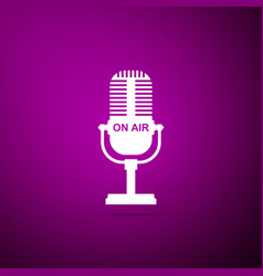 microphone icon isolated on purple ound vector image