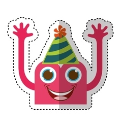 monster comic character with party hat vector image