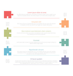 numbered list template with colorful puzzles vector image