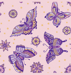 Old school tattoo butterflies and flowers seamless vector