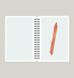 open notebook with red pen vector image