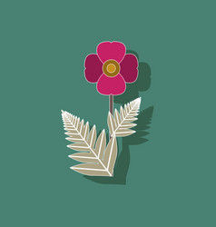 Paper sticker on background of papaver vector