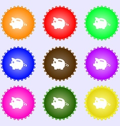 Piggy bank icon sign big set of colorful diverse vector