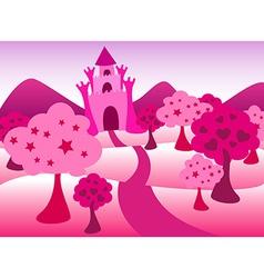 Pink castle landscape vector