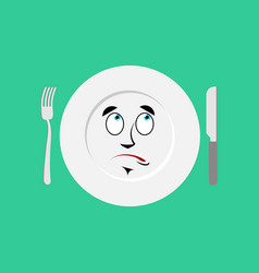 Plate surprised emoji empty dish isolated vector