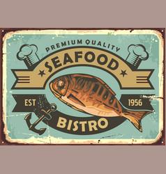 premium quality seafood restaurant vintage tin sig vector image