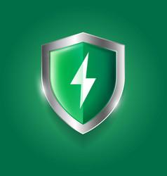 Protection icon green shield lightning antiviral vector