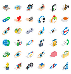 Rendering medical icons set isometric style vector