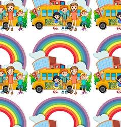 Seamless children standing schoolbus vector