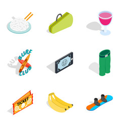 Secular evening icons set isometric style vector