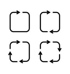 set black square arrows icons vector image