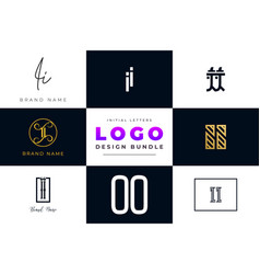 Set collection initial letters ii logo design vector