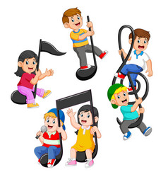 set collection of happy children riding music vector image