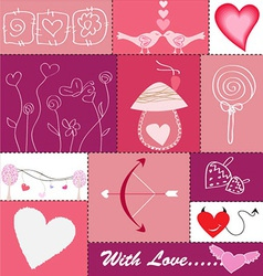set hearts and love icons vector image