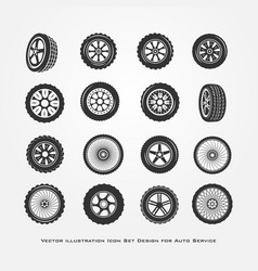set of car wheels vector image