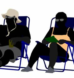 sitting on the beach vector image