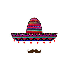 sombrero and mustache icon template isolated vector image