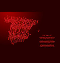 spain map abstract schematic from red ones and vector image
