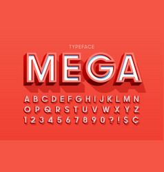 stylish 3d display font design alphabet letters vector image