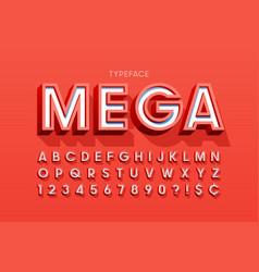 stylish 3d display font design alphabet letters vector image