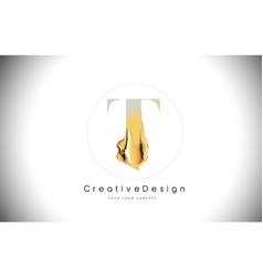 t golden letter design brush paint stroke gold vector image