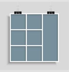 Templates collage seven parts frames for photo vector