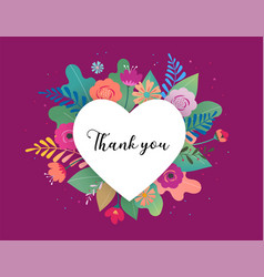 thank you card big white heart with colorful vector image