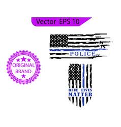 thin blue line us flag gun police blue line vector image